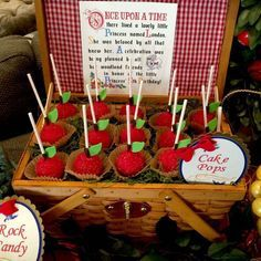 Beautiful apple cake pops at this Snow White's Woodland Picnic Party. See more party ideas at CatchMyParty.com