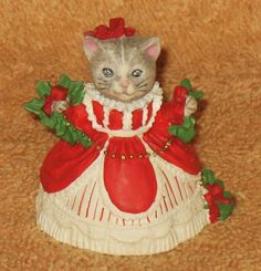 VINTAGE KITTY CUCUMBER DRESSED IN CHRISTMAS DRESS MIB