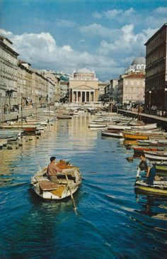 A canal in front of the Church of St. Anthony in Trieste, Italy National Geographic | June 1956