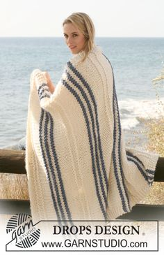 """Knitted DROPS blankets in """"Polaris"""". ~ DROPS Design"""