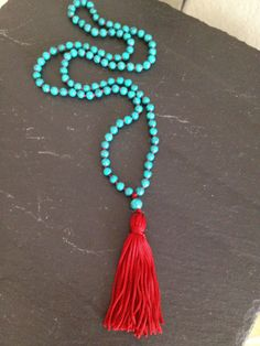 Turquoise Beaded Mala Necklace by TheArtsyNomad on Etsy