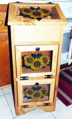 Potato Storage Bin  Sunflowers by Colorfulimpressions on Etsy, $164.99