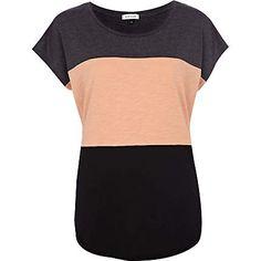 Pink colour block t-shirt - plain t-shirts / vests - t shirts / vests / sweats - women