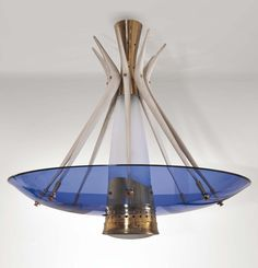 Enameled Metal and Glass Ceiling Light | Max Ingrand for Fontana Arte| 1950s