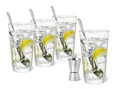 Met deze set heeft u alles in huis om een heerlijke gin tonic te maken. De set bestaat uit 4 glazen, 4 lepels en een barmaat.