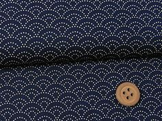 Fabric printed with a Sashiko design ... might be useful as a backing fabric? Dotted Wave Pattern on Navy A popular traditional pattern in dots on an indigo background. Sophisticated design.