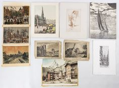 """Lot 298: Watercolor and Print Assortment; Ten items including an 1815 watercolor on paper signed by """"Phebe Petts"""" depicting a """"Cottage near Bristol,"""" an etching by Dallemagne of """"Rue Laffitte"""" and a 1938 sailboat print signed by Fred Henry"""