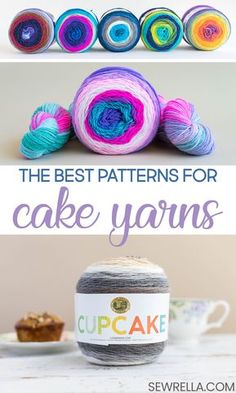 Knit and Crochet Patterns with Lion Brand Cake Yarns Have you ever seen cake yarns in the store and not really known what they were about, or what to do with them? I've solved that problem, friends! Find lots of lovely crochet and knit patterns here. Caron Cake Crochet Patterns, Caron Cakes Crochet, Crochet Cake, Knit Or Crochet, Crochet Gifts, Crochet Stitches, Knitting Patterns, Scarf Crochet, Yarn Projects