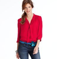 Petite Tie Neck 3/4 Sleeve Blouse - Shirred details and ties at the neckline add tailored appeal to this feminine and drapey essential. 3/4 sleeves. Button front. Back yoke.