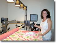 Julie House of Sculptured Thread Quilting and her Statler!