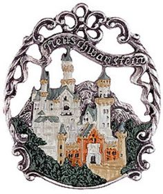 Traditional German pewter Christmas tree ornament featuring the Bavarian fairy tale castle of Neuschwanstein. Bavarian Forest, S Brick, Neuschwanstein Castle, German Christmas, Christmas 2014, Fairytale Castle, All Things Christmas, Home Decor Accessories, Handmade Christmas