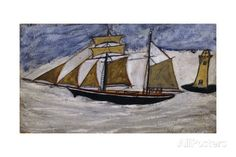 Boat and Lighthouse Giclee Print by Alfred Wallis at AllPosters.com