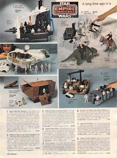 Vintage Sears Catalog advertisement for Star Wars: The Empire Strikes Back playsets, vehicles and action figures Star Wars Toys, Star Wars Art, Retro Toys, Vintage Toys, 1980s Toys, Gi Joe, Jouet Star Wars, Toy Catalogs, Kenner Toys