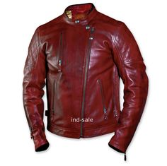 Custom Tailor Made All Sizes Genuine Leather Jacket Deep Red Biker Motorcycle #Handmade #Jackets