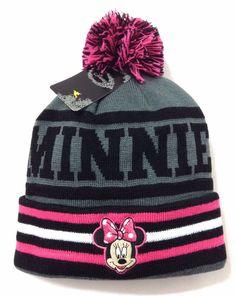 New MINNIE MOUSE POM BEANIE Dark-Gray/Pink Disney Women/Teen-Girl Winter Knit #Disney #Beanie #Winter