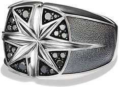 David Yurman mens Silver Maritime North Star Signet Ring With black diamonds