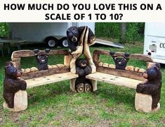 Backyard bear bench for fire pit! Chainsaw Wood Carving, Wood Carving Art, Wood Art, Wood Carvings, Rustic Log Furniture, Wood Furniture, Outdoor Furniture, Farmhouse Furniture, Benches For Sale