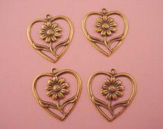 4 brass ox flower in heart frame charms loop