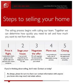 Steps to Selling your home http://www.LauraSanDiego.com