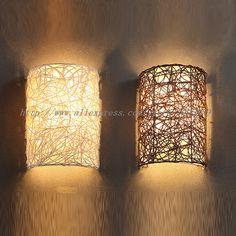 Schon Günstige Moderne Handgefertigte Rattan Wandlampen Lampe Braun/Weiß Farbe  Schlafzimmer Wand Leuchten E14 Glühbirne,