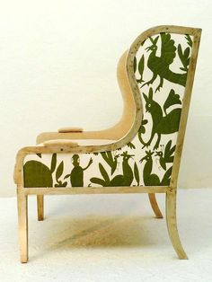 5 Favorites: Otomi Textiles as Upholstery : Remodelista.  From Casamidy, the Ixelles Wing Chair upholstered in a green Otomi fabric.