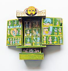 "This Henna green ""Kavaad"" is an amazing folded wooden Hindu temple whose origin is more than 500 years old. Each hinged panel and door show colorful pictures and motifs to illustrate the popular story of Lord Rama and Sita and the Ramayan.  Hand crafted by artisans of Rajasthan from mango wood, they are a collectors item.  www.theindianweave.com shipping worldwide"