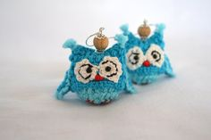 Turquoise Owl Crochet earrings Wooden beads by ColoredYarn on Etsy