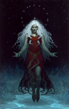 "Perchta or Berchta was once known as a goddess in Southern Germanic paganism in the Alpine countries.    Her name means ""the bright one"".     Perchta was at first a benevolent spirit. In Germanic paganism, Perchta had the rank of a minor deity. That changed to an enchanted creature (spirit or elf) in Old High German - such as Grimm describes - but she was given a more malevolent character (sorceress or witch) in later ages."