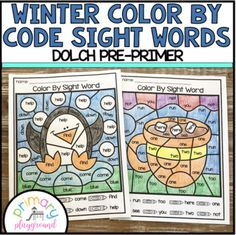 Winter Color By Code Sight Words Dolch Pre-Primer #sightwords #colorbycode
