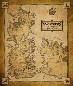 This map shows Westeros, land of the seven kingdoms,  and the eastern side of Essos, where the Free Cities are located. These are the main regions where the song of ice and fire unfolds.