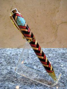 Handmade Wood Pen - Ballpoint Pen - Herringbone Inlay Pen