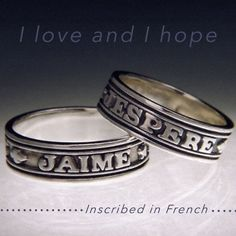 "Quote of the Week: ""I love and I hope""- Inscribed in French #poesy #ring #French #handmade #sterlingsilver #jewelry #quote"