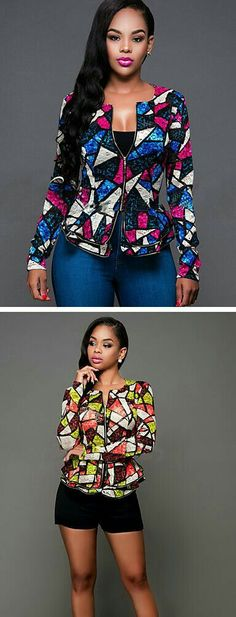 Geometric print for daily wear - geometric pattern slim blazer in blue - pink and green - orange colors. African Print Dresses, African Print Fashion, African Fashion Dresses, Africa Fashion, African Dress, Fashion Prints, African Prints, Ghanaian Fashion, Dress Fashion