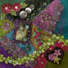 I ❤ crazy quilting, beading & ribbon embroidery . . . This block was used in an auction quilt last year in Omaha. It was made in honor of our friend Dee from the Netherlands who lost her battle with breast cancer. ~by Lisa Thoma Caryl