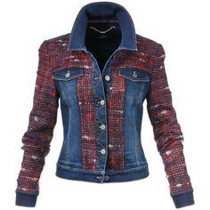 Jeansjacke im Material-Mix, darkblue/multicolor, blau Moda Jeans, Diy Vetement, Diy Mode, Denim Ideas, Blue Jean Jacket, Warm Outfits, Denim Fashion, Diy Clothes, Mantel