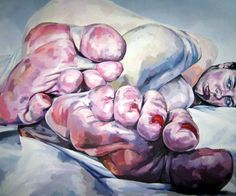 Artist: Duarte Vitori, oil on canvas, 2009; Oporto, Portugal {contemporary artist female human body perspective foreshortening reclining woman feet toes fine art painting}