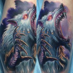 #Saberwulf from the video game #KillerInstinct - #tattoo by Paul Acker (Philadelphia, PA)   Like and Share! www.facebook.com/Tattooedink FOLLOW BLOG: http://tattooedpage.tumblr.com/ #tattoos #tattoo #tattooed #art #ink #artist #realistic #realism #tattooartist #awesometattoos #besttattoos #blackandgreytattoos #colortattoos #followme