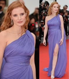 """Jessica Chastain in Elie Saab Couture gown at the """"Foxcatcher"""" premiere during the 67th Annual Cannes Film Festival."""