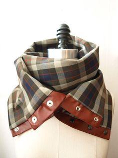 Khaki , gray , navy plaid Chunky circular infinity scarf