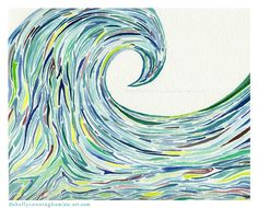 "My own watercolor painting - ""Marianas Wave"". Something totally new for me in style and with using watercolor =)"