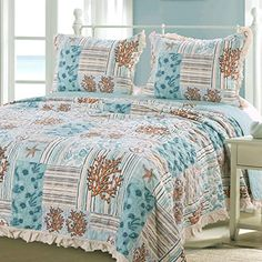 GH Beach Theme Ocean Coastal Quilt Full Queen Bedding Set - Nautical Seashell Beach Tropical Decor - All Season Reversible Bedspread Coverlet 3 Piece with Shams Green - Includes Bed Sheet Straps Coastal Quilts, Coastal Bedding, Beach Bedding, Beach Quilt, Coral Fabric, King Size Pillow Shams, Decorate Your Room, Tropical Decor, Quilt Sets