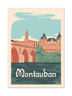 €25 . Affiche Illustration Originale MONTAUBAN . Papier 350g/m² Couché Mat