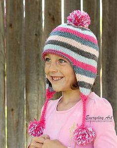 Free pattern - Children's Knit Ear Flap Hat Pattern by Everyday Art Knitted Hats Kids, Knitting For Kids, Knitting For Beginners, Baby Knitting Patterns, Free Knitting, Hat Patterns, Knit Hats, Child Knit Hat Pattern, Knit Or Crochet