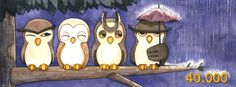 Facebook's cover made for More Illustrations' page for the soon-to-be 40.000 fans. #Illustration #Watercolors #Owls #Cute #Umbrella