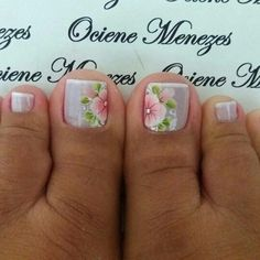 Flower Pedicure Designs, Toe Nail Designs, Pedicure Nails, Mani Pedi, Blue Nails, My Nails, New Nail Art Design, One Stroke Nails, Healthy Nails