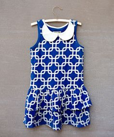 Take a look at this Mazarine Blue Jada Peter Pan Drop-Waist Dress - Toddler & Girls by Joyfolie on #zulily today!