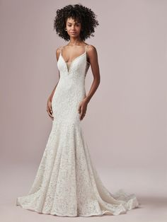 The White Rose Bridal and Formal Wear 616220 Maggie Sottero All over lace fit-and-flare wedding dress complete with beaded spaghetti straps, an illusion V-neckline, and V-back all lined with pearls, beads and Swarovski crystals. Lined with Virtue Jersey. Affordable Wedding Dresses, Designer Wedding Dresses, Bridal Dresses, Wedding Gowns, Lace Wedding, Wedding Bells, Maggie Sottero, Nude Gown, Wedding Gown Gallery