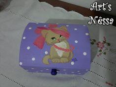 Art's Nêssa - Artesanato: Baú lilás gatinha
