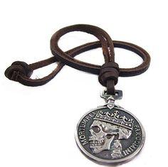 Adjustable Brown Leather Necklace alloy pendant  Men's Necklace Cool Necklace N3. $8.00, via Etsy.