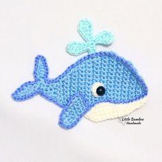 Nautical Crochet, Crochet Whale, Nautical Pattern, Crochet Baby, Crochet Applique Patterns Free, Crochet Patterns For Beginners, Crochet Motif, Knitting Patterns, Crochet Hook Sizes